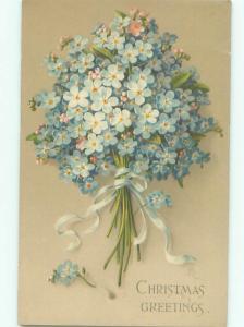 Pre-Linen Christmas BEAUTIFUL FORGET-ME-NOT FLOWER BOUQUET AB5810