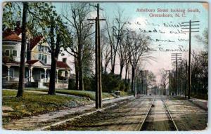 GREENSBORO, North Carolina  NC    ASHEBORO STREET Scene  1909   Postcard