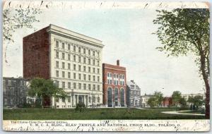 Toledo, Ohio Postcard YMCS Building, Elks Temple & National Union Bldg. 1906
