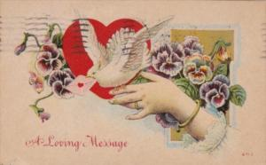 Valentine's Day With Hand Holding White Dove 1911