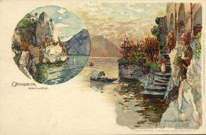italy, CANDRIA, Lago Lugano (1910s) Artist Signed Manuel Wielandt Nr. 400