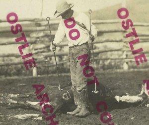 Faith SOUTH DAKOTA RPPC 1910 COWBOY BRANDING CATTLE Cow WILD WEST Cundill 9