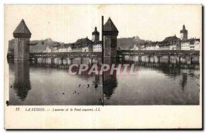 Stereoscopic Card - Switzerland - Lucerne and the covered bridge - Old Postcard
