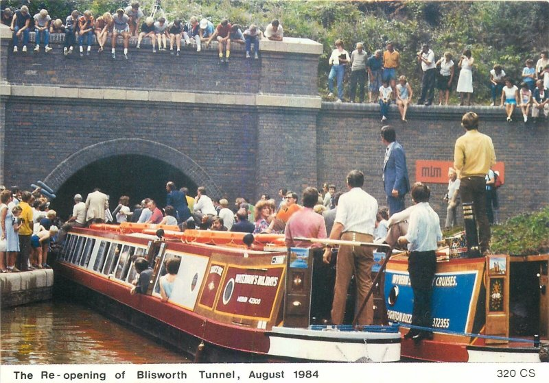 Postcard British England Northamptonshire  blisworth tunnel re-opening 1984 boat