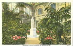 Palm Court, Jefferson Hotel, Richmond, Va 1920s unused Po...