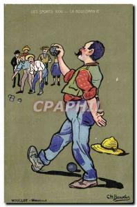 Old Postcard Petanque The workaholism