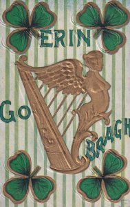 IRELAND, 1900-10s; Erin Go Bragh, Gold Harp surrounded by Clovers
