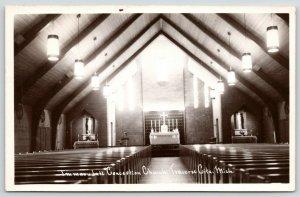 Traverse City MI Inside Roman Catholic Immaculate Conception* Church~RPPC 1040s