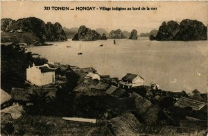 CPA AK INDOCHINA Hongay Village indigene au bord VIETNAM (956899)