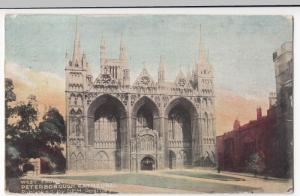 Cambridgeshire; West Front, Peterborough Cathedral PPC 1906 To B Wells, Richmond