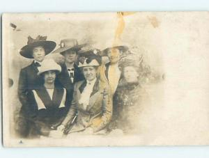 1920's rppc gay interest MEN IN DRAG - LOOK AT THE FACES - THEY ARE MEN HM0638