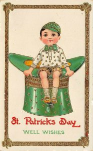 LP39  St Patrick's Day Postcard Irish  Holiday Postcard Boy Top Hat Gel Finish