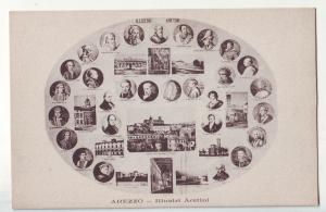 P1176 vintage unused postcard italy arezzo - illustri aretini famous people
