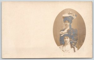 RPPC 1908~Lovely Ladies Share Oval Portrait, Show Off Flowered Hats~Postcard