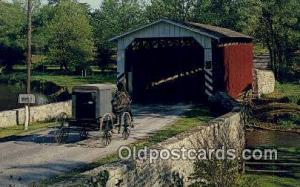 Paradise, Amishland, USA Covered Bridge Postcard Post Card Old Vintage Antiqu...