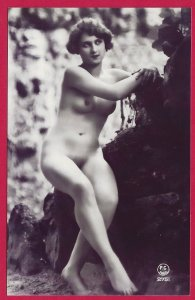 H-022   French Nude Woman Risque Repro 3X B&W Picture Postcard