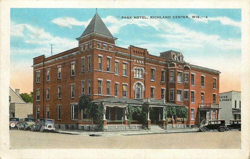 Richland Center Wisconsin Park Hotel Works Next Door 1920s Postcard