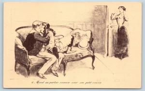 Postcard French Risque Maud Has Fun In The Parlor Cartoon Q16