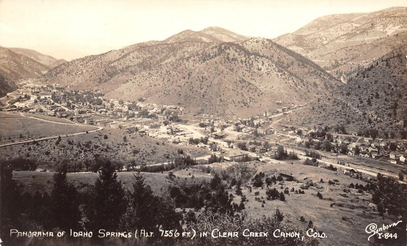 Idaho Springs Colorado~Clear Creek Cañon Panorama~RPPC c1937 Sepia Postcard