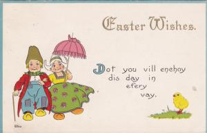 Easter Wishes, Dutch Couple, Chick, Dot you vill enchoy dis day in efery vay...