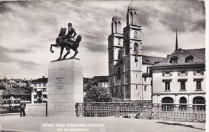 Switzerland Zurich Hans Waldmann Denkmal mit Grossmuenster 1950 Photo