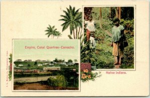 1900s Panama Postcard Empire - Canal Quarters Camacho / Native Indians UNUSED