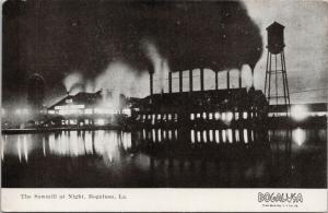 Sawmill at Night Bogalusa LA Louisiana Logging Lumber Postcard E48