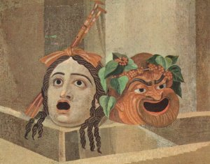 Mosaico Delle Maschere Drama Mask Mosaic Italian Postcard
