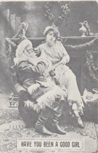 CHRISTMAS,1908 ;Naughty Santa Claus ;woman in lap, Have you been a good girl