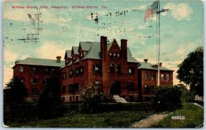 Wilkes-Barre, Pennsylvania Postcard CITY HOSPITAL Building View 1913 Cancel