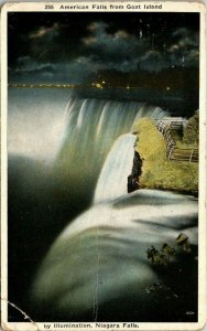VTG Postcard Niagara Falls At Night American Falls From Goat Island 1 Cent 1339