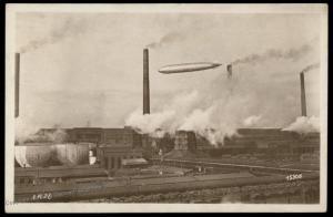 Germany 1928 Graf Zeppelin Airship Over Leunawerk RPPC 78609