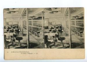 173116 OCEAN LINER Transatlantic dining room Vintage postcard