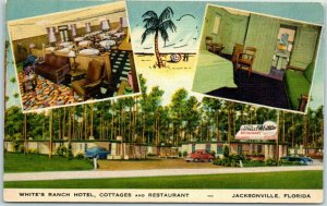 Jacksonville, Florida Postcard WHITE'S RANCH HOTEL Cottages & Restaurant Linen