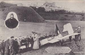 Crowd at spot where M. Louis Bleriot landed his aeroplane after flying from G...