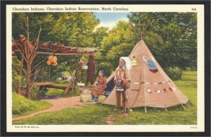 Cherokee NC Native Americans and Teepee on Indian Reservation Linen Postcard