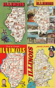 Illinois This Is Greetings From 4x Map Postcard s