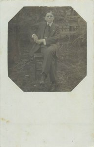 Social history early photo postcard elegant young man portrait