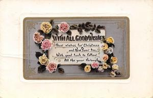 With All Good Wishes, Roses, Christmas, New Year 1909