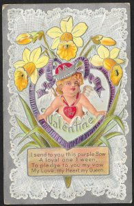 To My Valentine Girl With Crown In Ribbon Heart & Daffodils Used c1910s