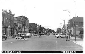 Tomah WI Street View Store Fronts Old Cars in 1956  RPPC Real Photo Postcard