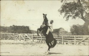 Horse Riding Rearing Back Brackettville Cancel - Texas? Real Photo Postcard