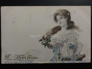 A Merry Christmas c1906 UB to 44 Rye Hill Park London from 5 Spencer Pl Brooklyn