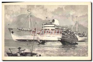Old Postcard Boat Company Messageries Maritimes Cambodia