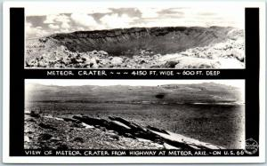 1940s METEOR CRATER Arizona RPPC Real Photo Postcard Highway 66 Roadside Frasher