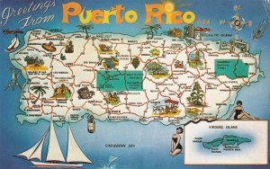 Greetings From Puerto Rico With Map 1973 sk4388