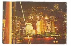 Night view of the Mandarin from a harbour ferry, Hong Kong,   PU-40-60s