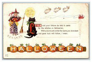 Scarce 1910's Halloween Postcard Witch Telling Fortune Black Cat Owls Moon Cards