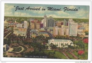 FL Miami Skyline Just Arrived 1955 Vintage Linen Postcard