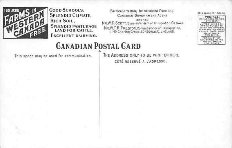 Canada Manitoba Carman Prosperous Town, 160 Acre Farms Advertising Postal Card